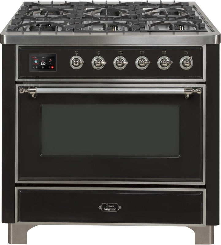 "Majestic II Series Dual Fuel Range with 4 Burners and Griddle   3.5 cu. ft. Oven Capacity   TFT Oven Control Display   Triple Glass Cool Door Oven   Chrome Trim  in Matte Graphite"" UM09FDNS3MGCLP 36 - America Best Appliances, LLC"