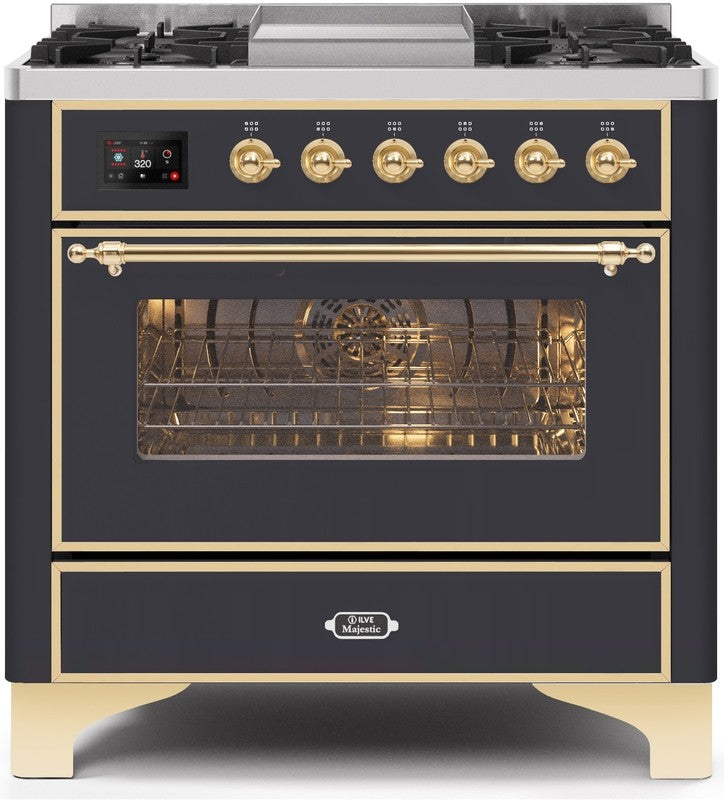 "Majestic II Series Dual Fuel Range with 4 Burners and Griddle   3.5 cu. ft. Oven Capacity   TFT Oven Control Display   Triple Glass Cool Door Oven   Brass Trim   in Matte Graphite"" UM09FDNS3MGG 36 - America Best Appliances, LLC"