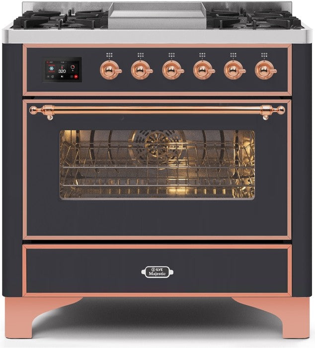 "Majestic II Series Dual Fuel Range with 4 Burners and Griddle   3.5 cu. ft. Oven Capacity   TFT Oven Control Display   Triple Glass Cool Door Oven   Copper Trim   in Matte Graphite"" UM09FDNS3MGPLP 36 - America Best Appliances, LLC"