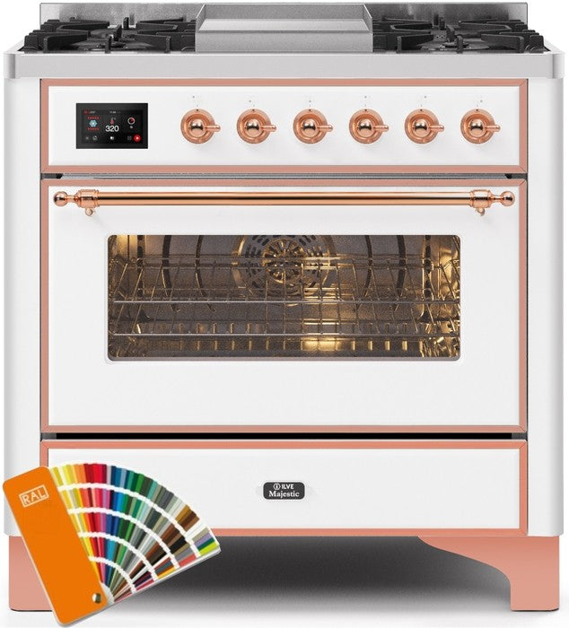 "Majestic II Series Dual Fuel Range with 4 Burners and Griddle   3.5 cu. ft. Oven Capacity   TFT Oven Control Display   Triple Glass Cool Door Oven   Copper Trim   in Custom RAL Color"" UM09FDNS3RALP 36 - America Best Appliances, LLC"