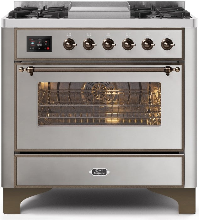 "Majestic II Series Dual Fuel Range with 4 Burners and Griddle   3.5 cu. ft. Oven Capacity   TFT Oven Control Display   Triple Glass Cool Door Oven   Bronze Trim   in Stainless Steel"" UM09FDNS3SSBLP 36 - America Best Appliances, LLC"