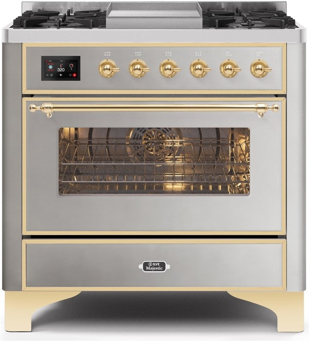"Majestic II Series Dual Fuel Range with 4 Burners and Griddle   3.5 cu. ft. Oven Capacity   TFT Oven Control Display   Triple Glass Cool Door Oven   Brass Trim   in Stainless Steel"" UM09FDNS3SSGLP 36 - America Best Appliances, LLC"