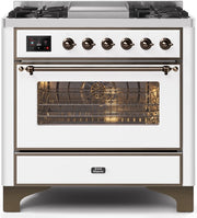 "Majestic II Series Dual Fuel Range with 4 Burners and Griddle   3.5 cu. ft. Oven Capacity   TFT Oven Control Display   Triple Glass Cool Door Oven   Bronze Trim   in White"" UM09FDNS3WHB 36 - America Best Appliances, LLC"