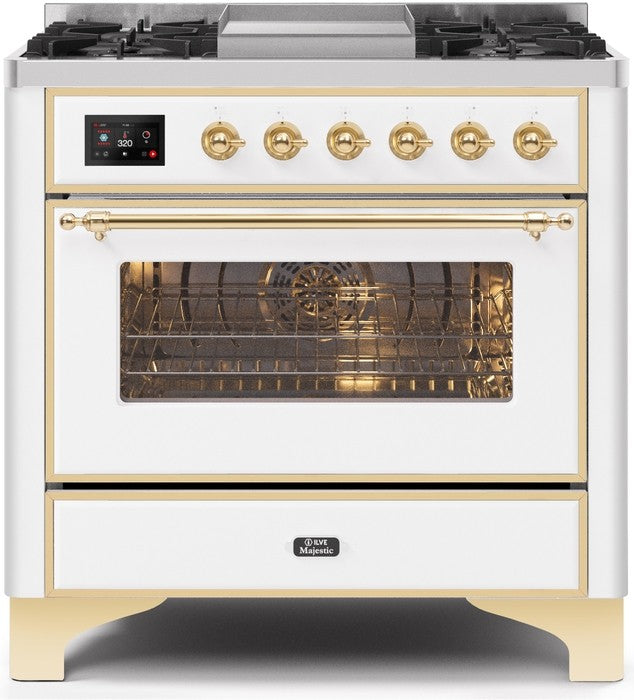 "Majestic II Series Dual Fuel Range with 4 Burners and Griddle   3.5 cu. ft. Oven Capacity   TFT Oven Control Display   Triple Glass Cool Door Oven   Brass Trim   in White""UM09FDNS3WHGLP 36 - America Best Appliances, LLC"