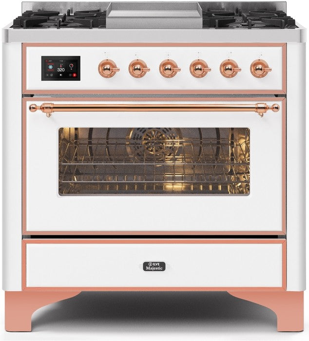 "Majestic II Series Dual Fuel Range with 4 Burners and Griddle   3.5 cu. ft. Oven Capacity   TFT Oven Control Display   Triple Glass Cool Door Oven   Copper Trim  in White""UM09FDNS3WHPLP 36 - America Best Appliances, LLC"