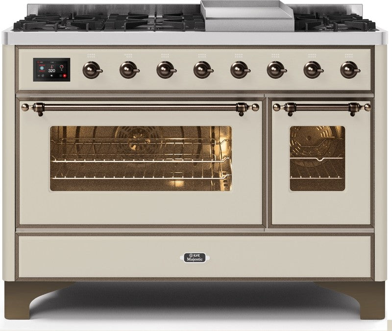 "Majestic II Series Freestanding Dual Fuel Range with 6 Sealed Brass Non Stick Coated Burners and Griddle   5.02 cu. ft. Total Oven Capacity   TFT Oven Control Display   Triple Glass Cool Door Oven   Bronze Trim   in Antique White"" UM12FDNS3AWBLP 48 - America Best Appliances, LLC"