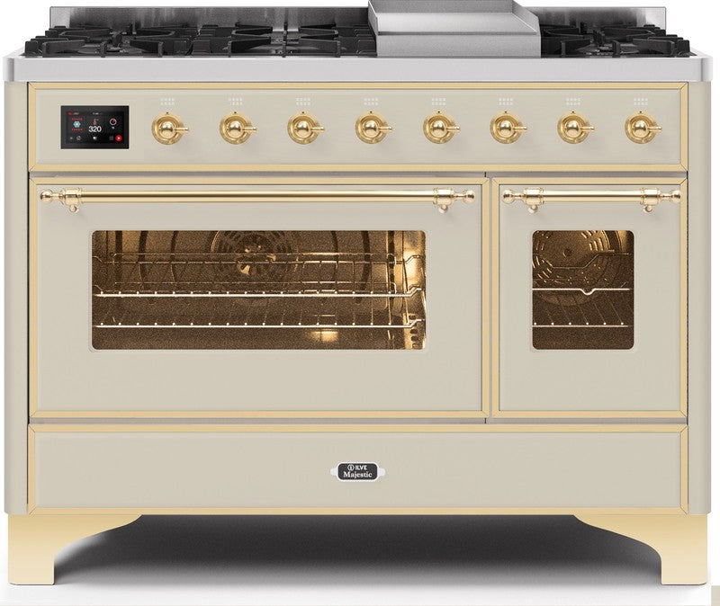 "Majestic II Series Freestanding Dual Fuel Range with 6 Sealed Brass Non Stick Coated Burners and Griddle   5.02 cu. ft. Total Oven Capacity   TFT Oven Control Display   Triple Glass Cool Door Oven   Brass Trim   in Antique White""UM12FDNS3AWGLP 48 - America Best Appliances, LLC"