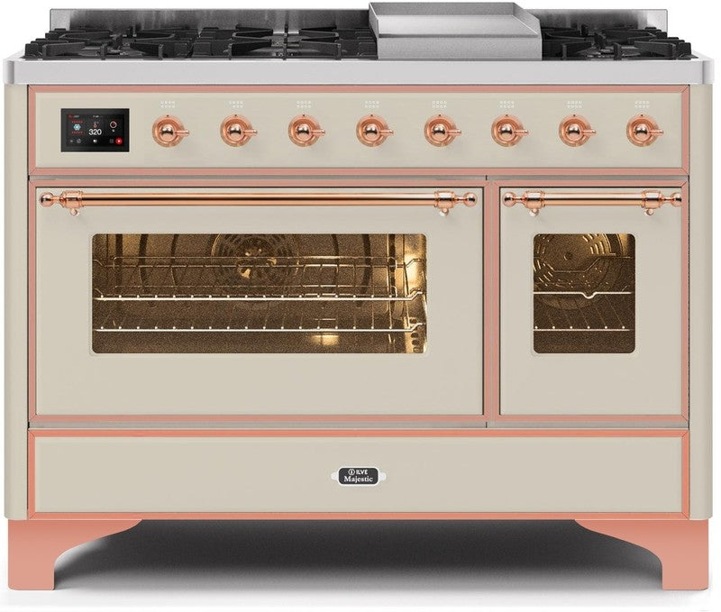 "Majestic II Series Freestanding Dual Fuel Range with 6 Sealed Brass Non Stick Coated Burners and Griddle   5.02 cu. ft. Total Oven Capacity   TFT Oven Control Display   Triple Glass Cool Door Oven   Copper Trim   in Antique White""UM12FDNS3AWP 48 - America Best Appliances, LLC"