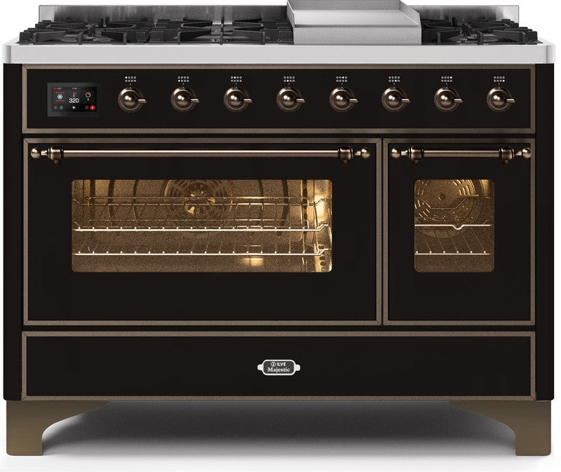 "Majestic II Series Freestanding Dual Fuel Range with 6 Sealed Brass Non Stick Coated Burners and Griddle   5.02 cu. ft. Total Oven Capacity   TFT Oven Control Display   Triple Glass Cool Door Oven Bronze Trim   in Glossy Black ""UM12FDNS3BKB 48 - America Best Appliances, LLC"