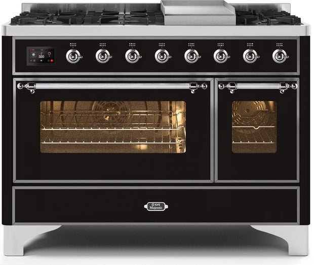 "Majestic II Series Freestanding Dual Fuel Range with 6 Sealed Brass Non Stick Coated Burners and Griddle   5.02 cu. ft. Total Oven Capacity   TFT Oven Control Display   Triple Glass Cool Door Oven   Chrome Trim   in Glossy Black""UM12FDNS3BKCLP 48 - America Best Appliances, LLC"