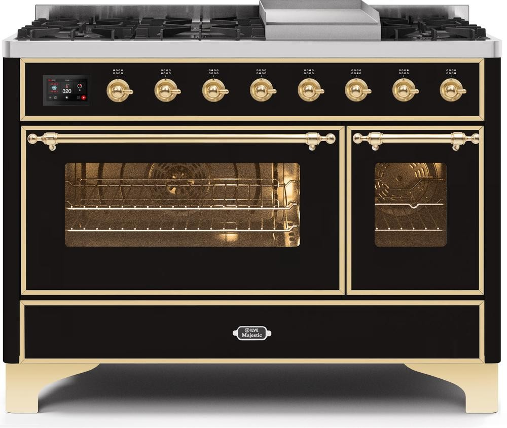 "Majestic II Series Freestanding Dual Fuel Range with 6 Sealed Brass Non Stick Coated Burners and Griddle   5.02 cu. ft. Total Oven Capacity   TFT Oven Control Display   Triple Glass Cool Door Oven   Brass Trim   in Glossy Black""UM12FDNS3BKG 48 - America Best Appliances, LLC"