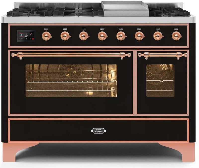 "Majestic II Series Freestanding Dual Fuel Range with 6 Sealed Brass Non Stick Coated Burners and Griddle   5.02 cu. ft. Total Oven Capacity   TFT Oven Control Display   Triple Glass Cool Door Oven   Copper Trim  in Glossy Black""UM12FDNS3BKPLP 48 - America Best Appliances, LLC"