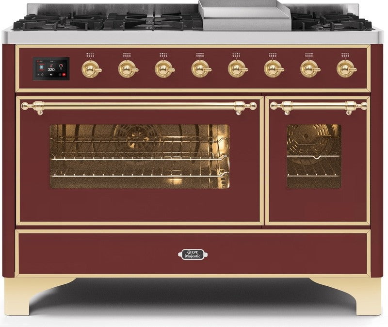 "Majestic II Series Freestanding Dual Fuel Range with 6 Sealed Brass Non Stick Coated Burners and Griddle   5.02 cu. ft. Total Oven Capacity   TFT Oven Control Display   Triple Glass Cool Door Oven   Brass Trim   in Burgundy""UM12FDNS3BUG 48 - America Best Appliances, LLC"
