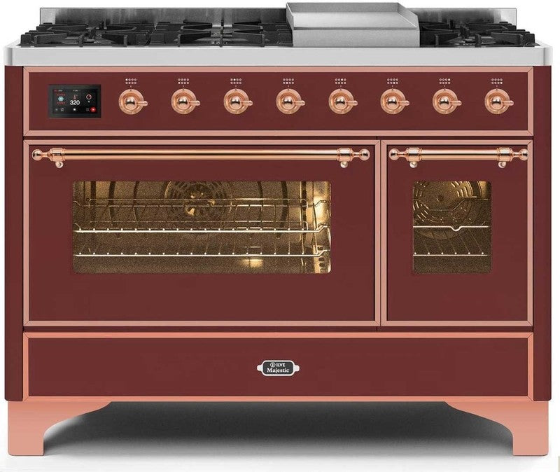"Majestic II Series Freestanding Dual Fuel Range with 6 Sealed Brass Non Stick Coated Burners and Griddle   5.02 cu. ft. Total Oven Capacity   TFT Oven Control Display   Triple Glass Cool Door Oven   Copper Trim   in Burgundy""UM12FDNS3BUPLP 48 - America Best Appliances, LLC"