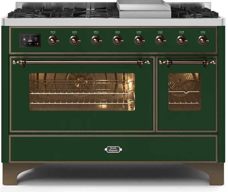 "Majestic II Series Freestanding Dual Fuel Range with 6 Sealed Brass Non Stick Coated Burners and Griddle   5.02 cu. ft. Total Oven Capacity   TFT Oven Control Display   Triple Glass Cool Door Oven   Bronze Trim   in Emerald Green""UM12FDNS3EGB 48 - America Best Appliances, LLC"