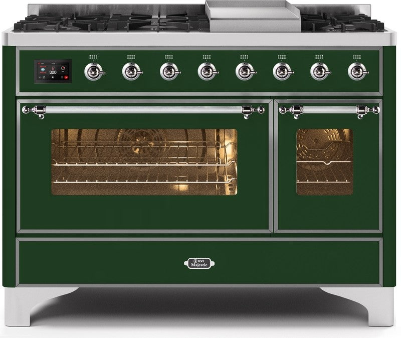 "Majestic II Series Freestanding Dual Fuel Range with 6 Sealed Brass Non Stick Coated Burners and Griddle   5.02 cu. ft. Total Oven Capacity   TFT Oven Control Display   Triple Glass Cool Door Oven   Chrome Trim  in Emerald Green""UM12FDNS3EGC 48 - America Best Appliances, LLC"