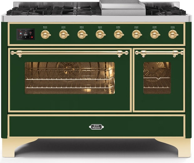 "Majestic II Series Freestanding Dual Fuel Range with 6 Sealed Brass Non Stick Coated Burners and Griddle   5.02 cu. ft. Total Oven Capacity   TFT Oven Control Display   Triple Glass Cool Door Oven   Brass Trim   in Emerald Green""UM12FDNS3EGGLP 48 - America Best Appliances, LLC"