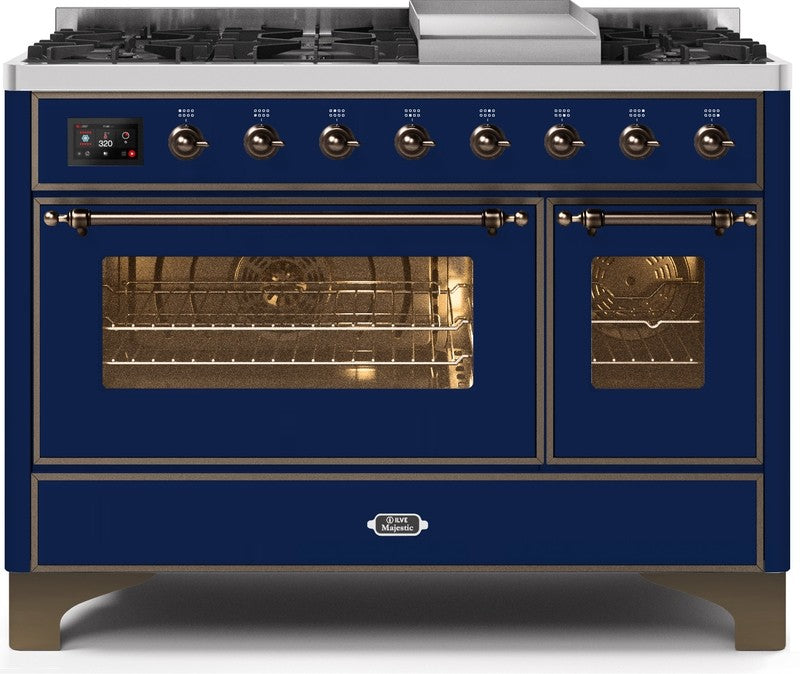 "Majestic II Series Freestanding Dual Fuel Range with 6 Sealed Brass Non Stick Coated Burners and Griddle   5.02 cu. ft. Total Oven Capacity   TFT Oven Control Display   Triple Glass Cool Door Oven   Bronze Trim   in Midnight Blue""UM12FDNS3MBBLP 48 - America Best Appliances, LLC"