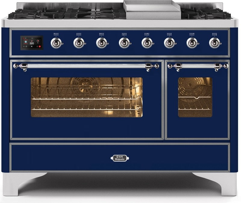 "Majestic II Series Freestanding Dual Fuel Range with 6 Sealed Brass Non Stick Coated Burners and Griddle   5.02 cu. ft. Total Oven Capacity   TFT Oven Control Display   Triple Glass Cool Door Oven   Chrome Trim   in Midnight Blue""UM12FDNS3MBCLP 48 - America Best Appliances, LLC"
