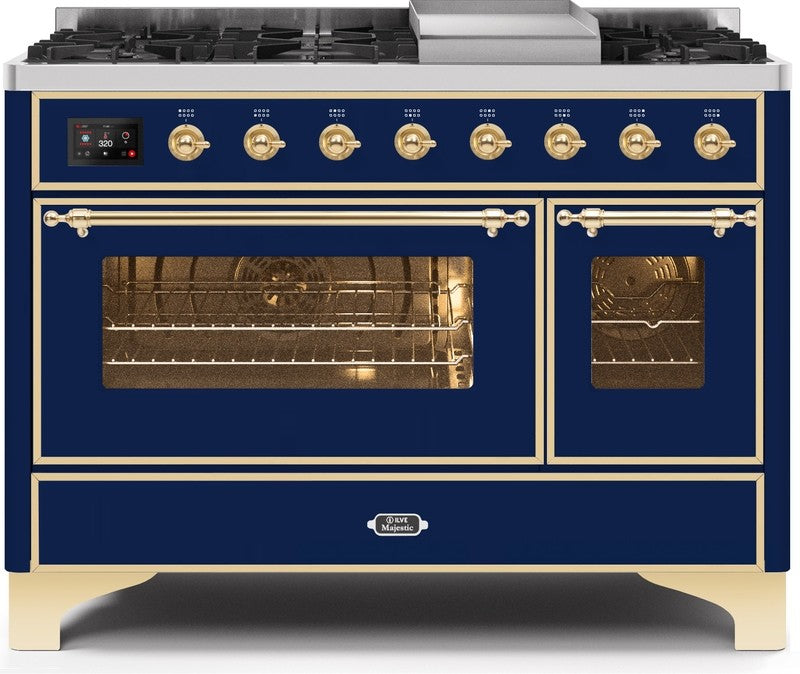 "Majestic II Series Freestanding Dual Fuel Range with 6 Sealed Brass Non Stick Coated Burners and Griddle   5.02 cu. ft. Total Oven Capacity   TFT Oven Control Display   Triple Glass Cool Door Oven   Brass Trim   in Midnight Blue""UM12FDNS3MBGLP 48 - America Best Appliances, LLC"
