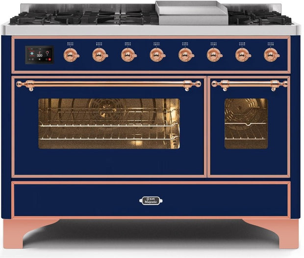 "Majestic II Series Freestanding Dual Fuel Range with 6 Sealed Brass Non Stick Coated Burners and Griddle   5.02 cu. ft. Total Oven Capacity   TFT Oven Control Display   Triple Glass Cool Door Oven   Copper Trim   in Midnight Blue""UM12FDNS3MBPLP 48 - America Best Appliances, LLC"