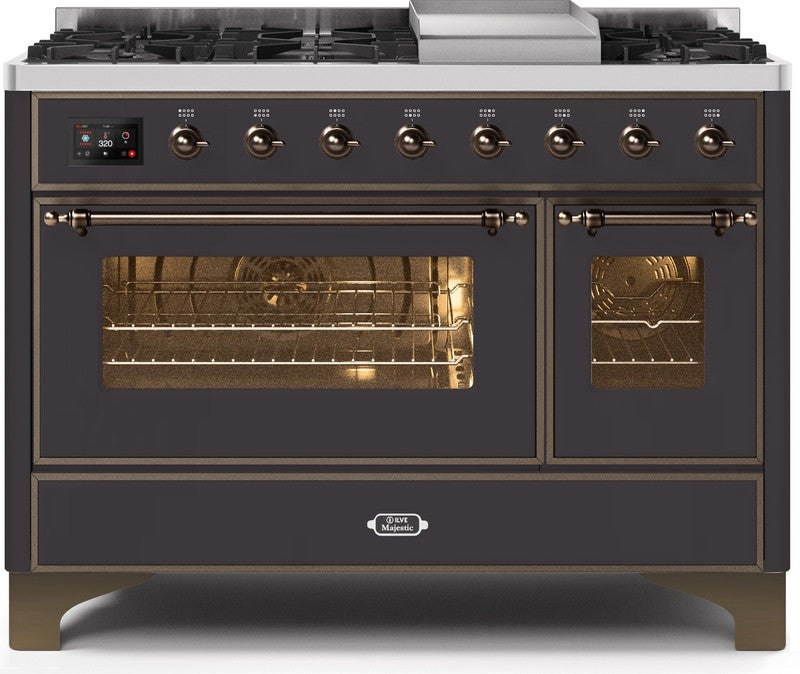 "Majestic II Series Freestanding Dual Fuel Range with 6 Sealed Brass Non Stick Coated Burners and Griddle   5.02 cu. ft. Total Oven Capacity   TFT Oven Control Display   Triple Glass Cool Door Oven   Bronze Trim   in Matte Graphite""UM12FDNS3MGBLP 48 - America Best Appliances, LLC"