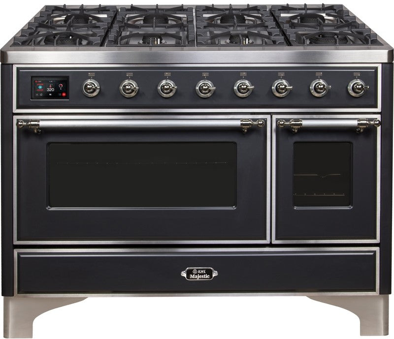 "Majestic II Series Freestanding Dual Fuel Range with 6 Sealed Brass Non Stick Coated Burners and Griddle   5.02 cu. ft. Total Oven Capacity   TFT Oven Control Display   Triple Glass Cool Door Oven   Chrome Trim   in Matte Graphite""UM12FDNS3MGC 48 - America Best Appliances, LLC"