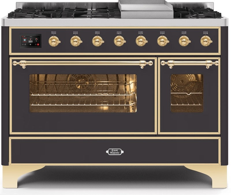 "Majestic II Series Freestanding Dual Fuel Range with 6 Sealed Brass Non Stick Coated Burners and Griddle   5.02 cu. ft. Total Oven Capacity   TFT Oven Control Display   Triple Glass Cool Door Oven   Brass Trim   in Matte Graphite""UM12FDNS3MGGLP 48 - America Best Appliances, LLC"