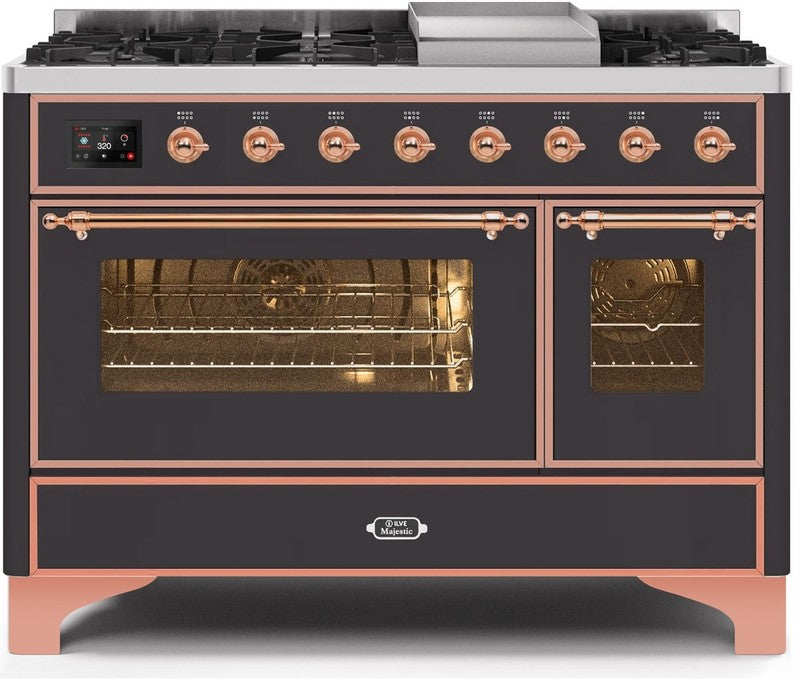 "Majestic II Series Freestanding Dual Fuel Range with 6 Sealed Brass Non Stick Coated Burners and Griddle   5.02 cu. ft. Total Oven Capacity   TFT Oven Control Display   Triple Glass Cool Door Oven   Copper Trim   in Matte Graphite""UM12FDNS3MGP 48 - America Best Appliances, LLC"