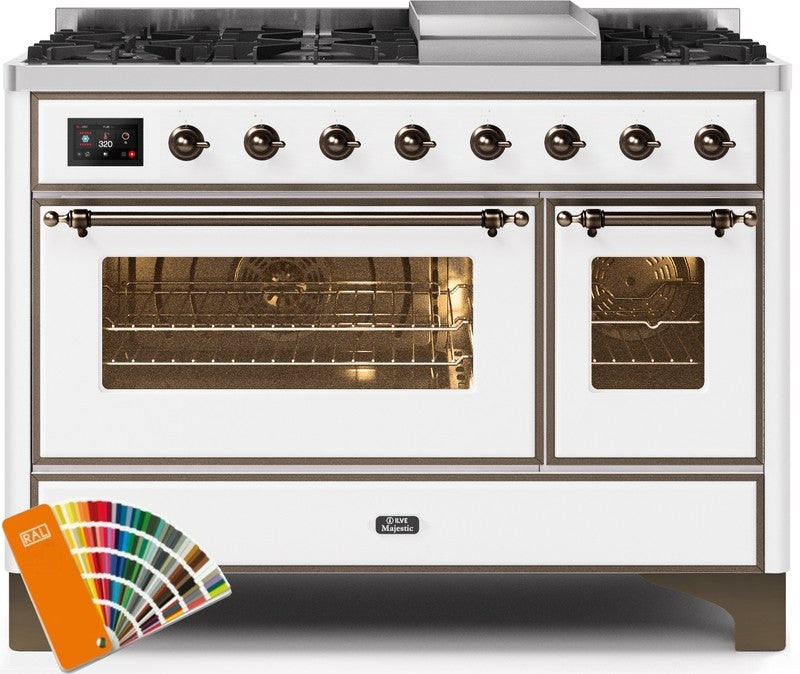 "Majestic II Series Freestanding Dual Fuel Range with 6 Sealed Brass Non Stick Coated Burners and Griddle   5.02 cu. ft. Total Oven Capacity   TFT Oven Control Display   Triple Glass Cool Door Oven   Bronze Trim   in Custom RAL Color""UM12FDNS3RALBLP 48 - America Best Appliances, LLC"