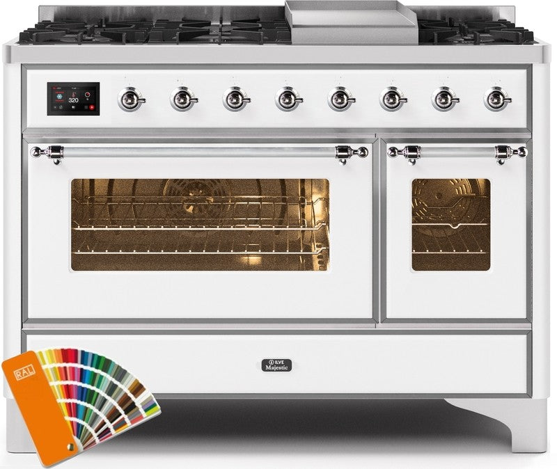 "Majestic II Series Freestanding Dual Fuel Range with 6 Sealed Brass Non Stick Coated Burners and Griddle   5.02 cu. ft. Total Oven Capacity   TFT Oven Control Display   Triple Glass Cool Door Oven   Chrome Trim   in Custom RAL Color""UM12FDNS3RALC 48 - America Best Appliances, LLC"