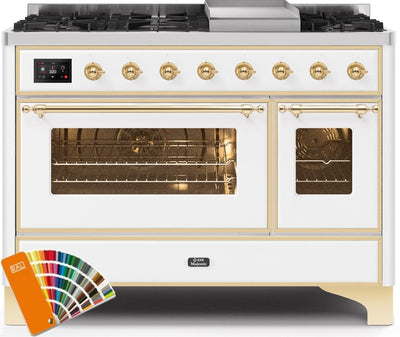 "Majestic II Series Freestanding Dual Fuel Range with 6 Sealed Brass Non Stick Coated Burners and Griddle   5.02 cu. ft. Total Oven Capacity   TFT Oven Control Display   Triple Glass Cool Door Oven   Brass Trim  in Custom RAL Color""UM12FDNS3RALG 48 - America Best Appliances, LLC"