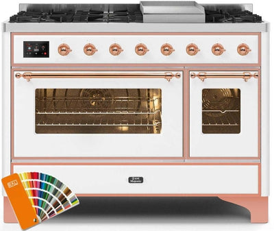 "Majestic II Series Freestanding Dual Fuel Range with 6 Sealed Brass Non Stick Coated Burners and Griddle   5.02 cu. ft. Total Oven Capacity   TFT Oven Control Display   Triple Glass Cool Door Oven   Copper Trim   in Custom RAL Color""UM12FDNS3RALP 48 - America Best Appliances, LLC"