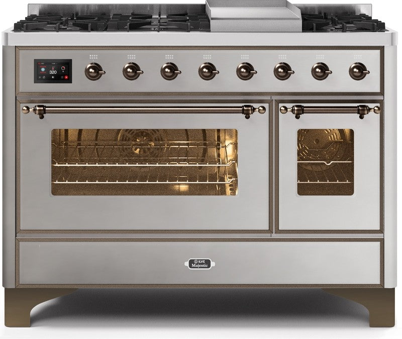 "Majestic II Series Freestanding Dual Fuel Range with 6 Sealed Brass Non Stick Coated Burners and Griddle   5.02 cu. ft. Total Oven Capacity   TFT Oven Control Display   Triple Glass Cool Door Oven   Bronze Trim   in Stainless Steel""UM12FDNS3SSB 48 - America Best Appliances, LLC"