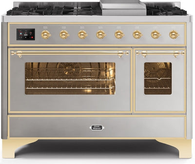 "Majestic II Series Freestanding Dual Fuel Range with 6 Sealed Brass Non Stick Coated Burners and Griddle   5.02 cu. ft. Total Oven Capacity   TFT Oven Control Display   Triple Glass Cool Door Oven   Brass Trim   in Stainless Steel""UM12FDNS3SSG 48 - America Best Appliances, LLC"