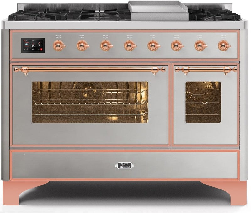 "Majestic II Series Freestanding Dual Fuel Range with 6 Sealed Brass Non Stick Coated Burners and Griddle   5.02 cu. ft. Total Oven Capacity   TFT Oven Control Display   Triple Glass Cool Door Oven   Copper Trim   in Stainless Steel""UM12FDNS3SSP 48 - America Best Appliances, LLC"