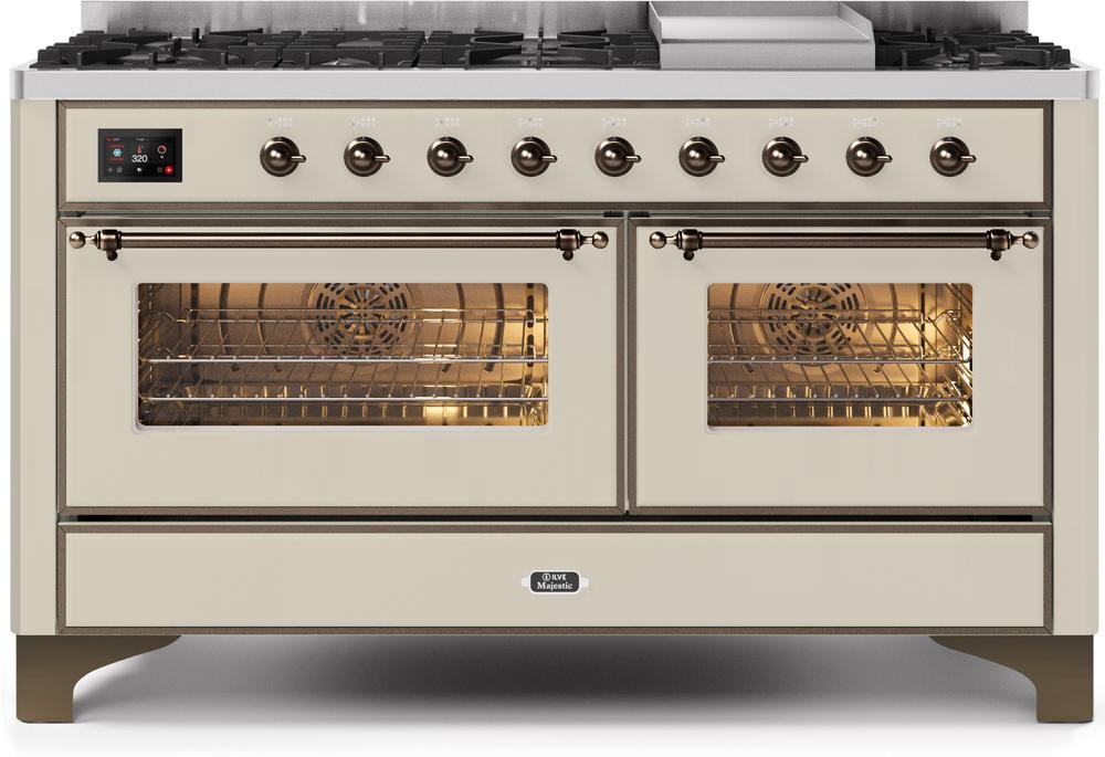 "Majestic II Series Freestanding Dual Fuel Liquid Propane Range with 7 Sealed Burners   Griddle   Dual Ovens   TFT Oven Touch Control Display   Bronze Trim   in Antique White""UM15FE3AWBLP 60 - America Best Appliances, LLC"