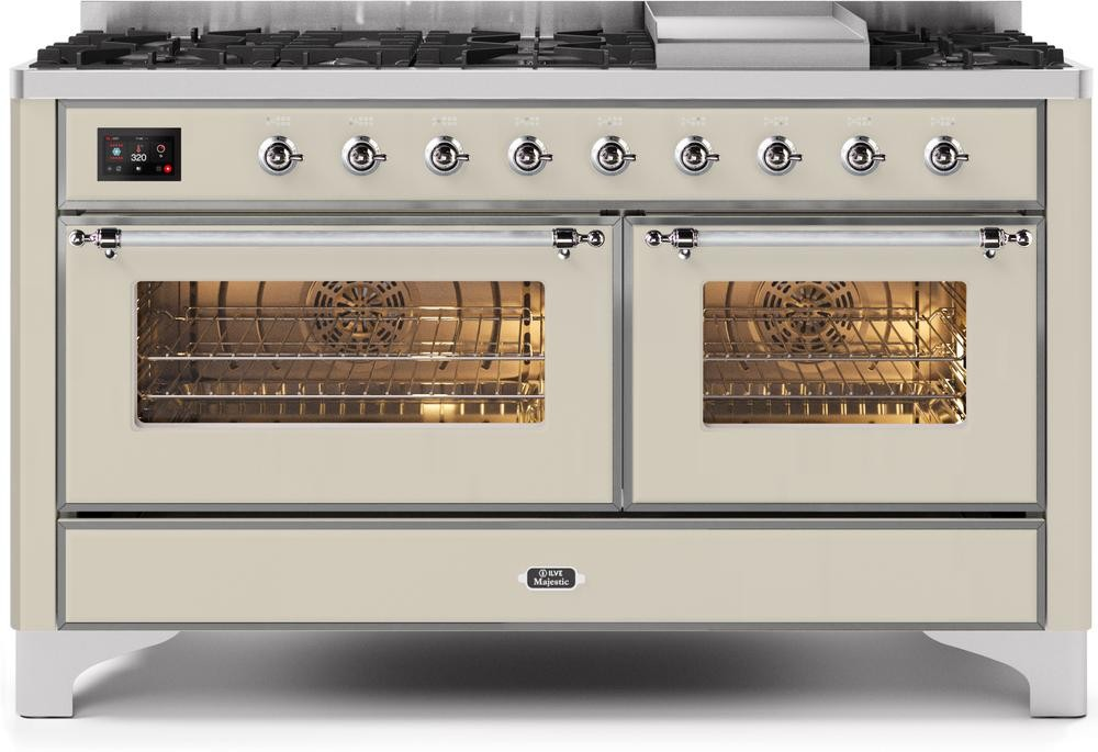 "Majestic II Series Freestanding Dual Fuel Natural Gas Range with 7 Sealed Burners   Griddle   Dual Ovens   TFT Oven Touch Control Display   Chrome Trim   in Antique White""UM15FE3AWC 60 - America Best Appliances, LLC"