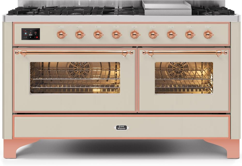 "Majestic II Series Freestanding Dual Fuel Liquid Propane Range with 7 Sealed Burners   Griddle   Dual Ovens   TFT Oven Touch Control Display   Copper Trim   in Antique White""UM15FE3AWPLP  60 - America Best Appliances, LLC"