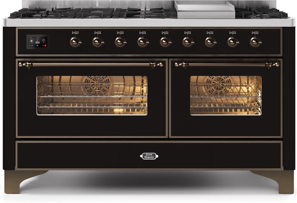 "Majestic II Series Freestanding Dual Fuel Liquid Propane Range with 7 Sealed Burners   Griddle   Dual Ovens   TFT Oven Touch Control Display   Bronze Trim   in Glossy Black""UM15FE3BKBLP  60 - America Best Appliances, LLC"