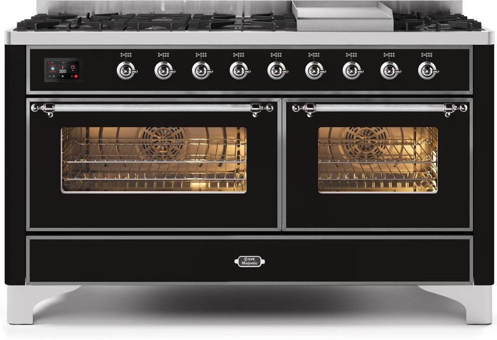 "Majestic II Series Freestanding Dual Fuel Liquid Propane Range with 7 Sealed Burners   Griddle   Dual Ovens   TFT Oven Touch Control Display   Chrome Trim   in Glossy Black""UM15FE3BKCLP  60 - America Best Appliances, LLC"
