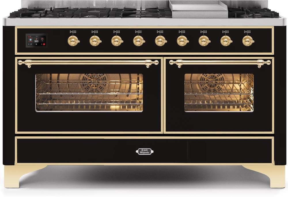 "Majestic II Series Freestanding Dual Fuel Liquid Propane Range with 7 Sealed Burners   Griddle   Dual Ovens   TFT Oven Touch Control Display   Brass Trim   in Glossy Black""UM15FE3BKGLP  60 - America Best Appliances, LLC"