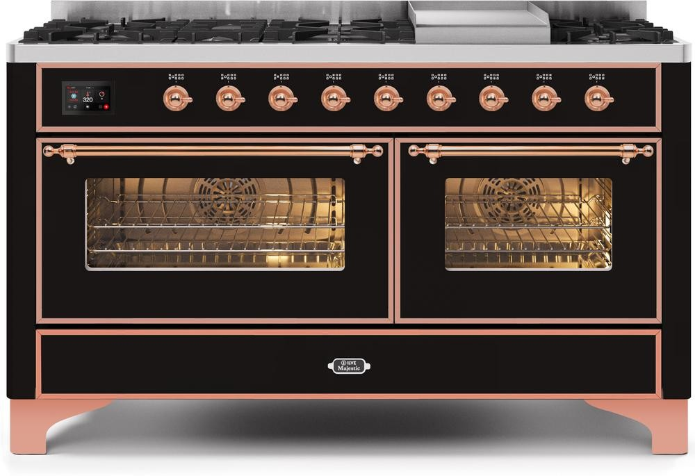 "Majestic II Series Freestanding Dual Fuel Liquid Propane Range with 7 Sealed Burners   Griddle   Dual Ovens   TFT Oven Touch Control Display   Copper Trim   in Glossy Black""UM15FE3BKPLP  60 - America Best Appliances, LLC"
