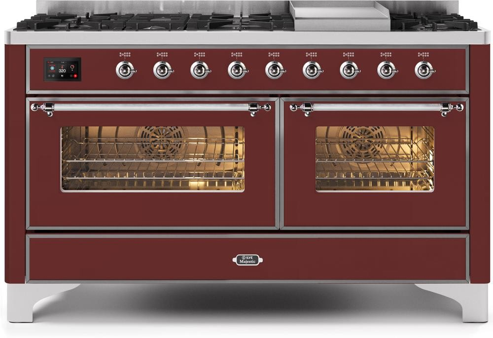 "Majestic II Series Freestanding Dual Fuel Liquid Propane Range with 7 Sealed Burners   Griddle   Dual Ovens   TFT Oven Touch Control Display   Chrome Trim   in Burgundy""UM15FE3BUCLP 60 - America Best Appliances, LLC"
