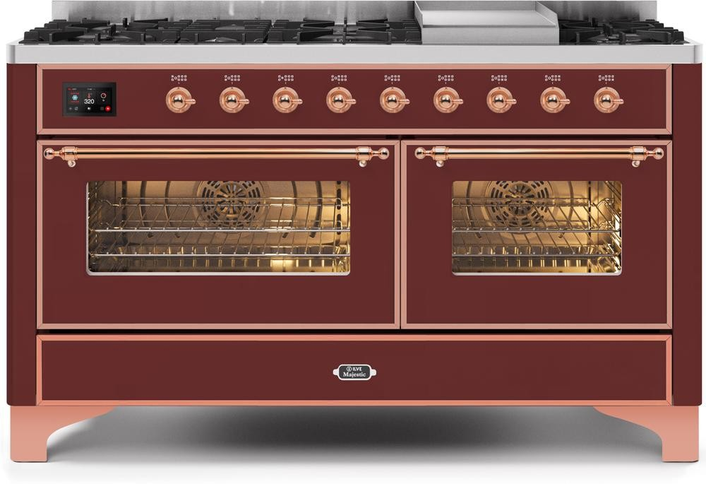 "Majestic II Series Freestanding Dual Fuel Liquid Propane Range with 7 Sealed Burners   Griddle   Dual Ovens   TFT Oven Touch Control Display   Copper Trim   in Burgundy""UM15FE3BUPLP  60 - America Best Appliances, LLC"