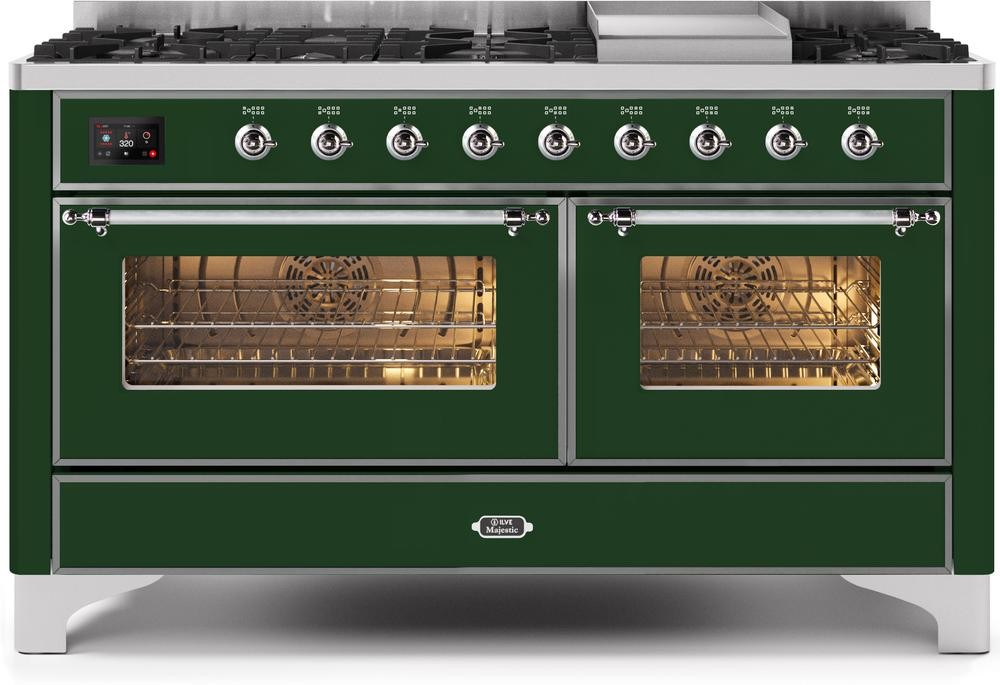 "Majestic II Series Freestanding Dual Fuel Liquid Propane Range with 7 Sealed Burners   Griddle   Dual Ovens   TFT Oven Touch Control Display   Chrome Trim   in Emerald Green""UM15FE3EGCLP 60 - America Best Appliances, LLC"