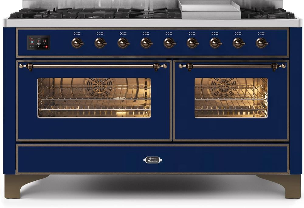 "Majestic II Series Freestanding Dual Fuel Liquid Propane Range with 7 Sealed Burners   Griddle   Dual Ovens   TFT Oven Touch Control Display   Bronze Trim   in Midnight Blue""UM15FE3MBBLP 60 - America Best Appliances, LLC"