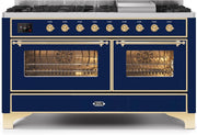 "Majestic II Series Freestanding Dual Fuel Liquid Propane Range with 7 Sealed Burners   Griddle   Dual Ovens   TFT Oven Touch Control Display   Brass Trim   in Midnight Blue""UM15FE3MBGLP 60 - America Best Appliances, LLC"