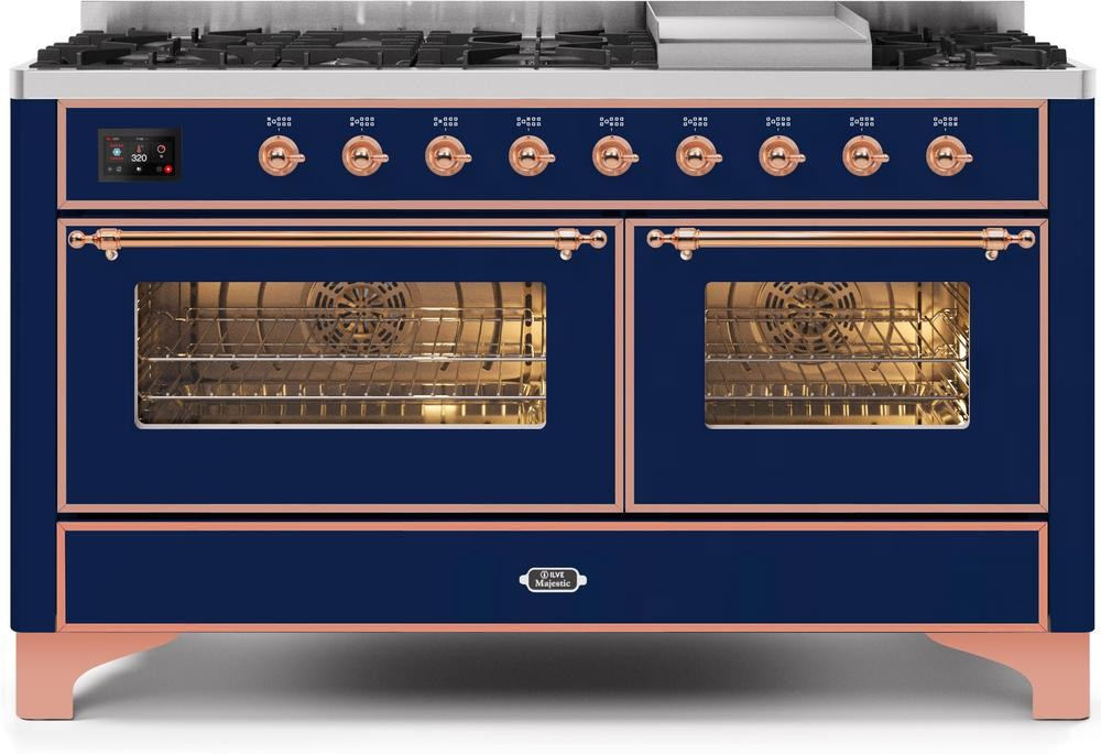 "Majestic II Series Freestanding Dual Fuel Liquid Propane Range with 7 Sealed Burners   Griddle   Dual Ovens   TFT Oven Touch Control Display   Copper Trim  in Midnight Blue""UM15FE3MBPLP 60 - America Best Appliances, LLC"