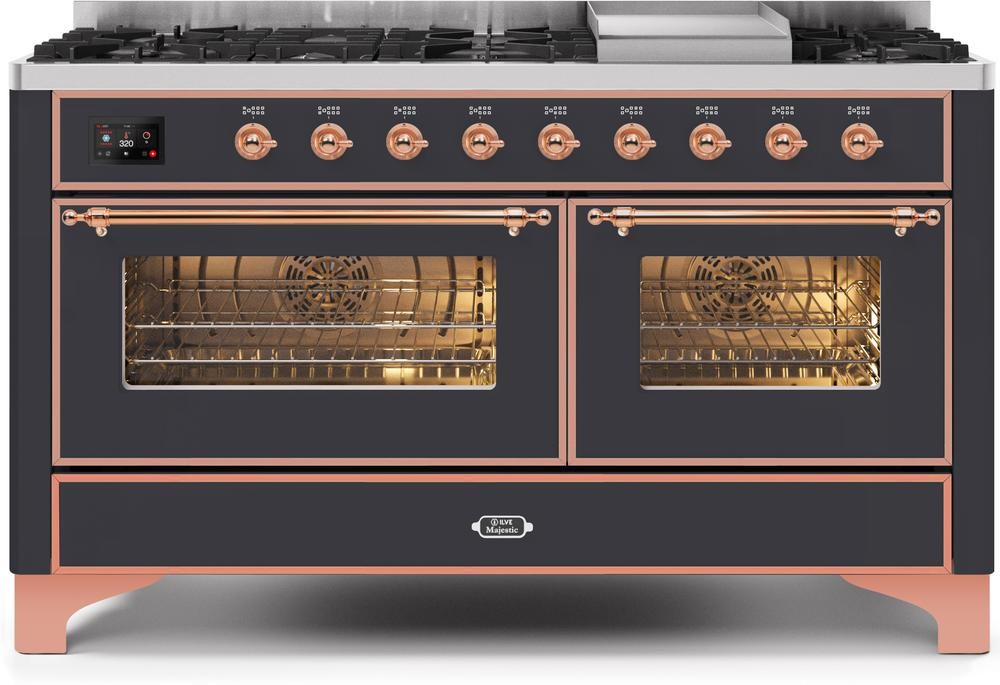 "Majestic II Series Freestanding Dual Fuel Liquid Propane Range with 7 Sealed Burners   Griddle   Dual Ovens   TFT Oven Touch Control Display   Copper Trim   in Matte Graphite""UM15FE3MGPLP 60 - America Best Appliances, LLC"